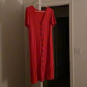 Coral midi dress with buttons